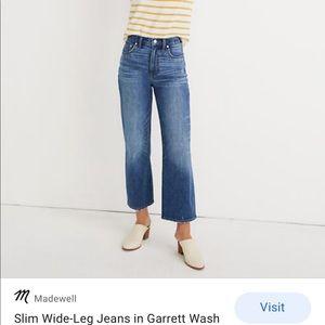 Madewell Slim Wide Leg Jeans Sz 30